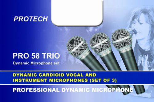 שלישיית מיקרופונים בקייס Protech 58A