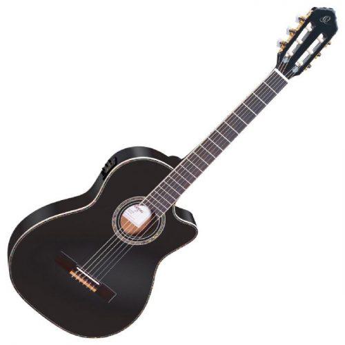 גיטרה קלאסית מוגברת בצבע שחור Ortega RCE145BK