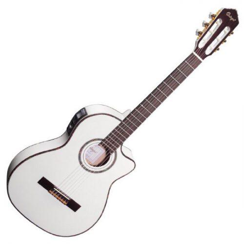 גיטרה קלאסית מוגברת בצבע לבן Ortega RCE145WH