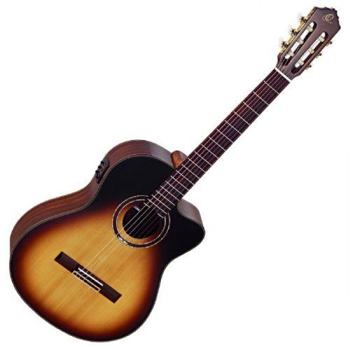גיטרה קלאסית מוגברת בצבע Tobacco Sunburst מבית Ortega RCE158SN-TSB