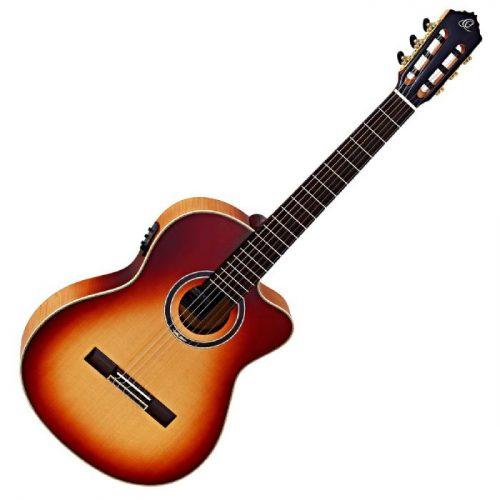 גיטרה קלאסית מוגברת בצבע Honey Burst מבית Ortega HONEYSUITEC/E