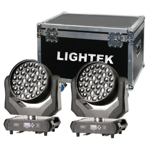 זוג פנסים חכמים Lightek LED Moving Wash 37 RGBW Zoom