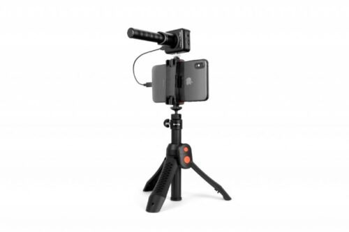 ערכת מיקרופון Shotgun דיגיטלי איכותי + סטנד מקצועי IK Multimedia iRig Mic Video Bundle